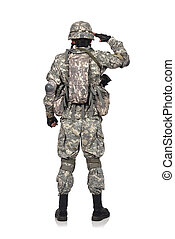 US soldier salutes standing back on white background