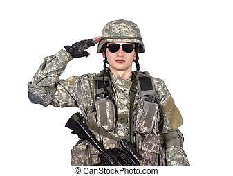 US soldier salutes isolation on white background