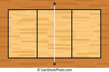 Aerial View of Hardwood Volleyball
