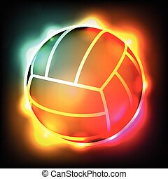 Glowing Colorful Volleyball - An illustration of a colorful...