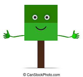 Tree character isolated - Welcoming tree character with open...