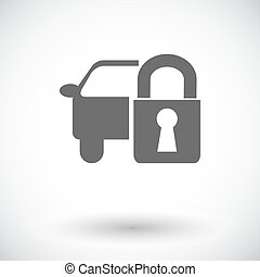 Locking car doors. Single flat icon on white background....