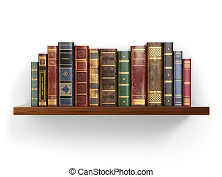 Vintage old books on shelf isolated on white 3d