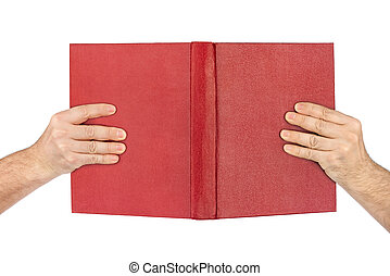 Opened book in hands
