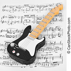 Toy guitar and music sheet - art musical background