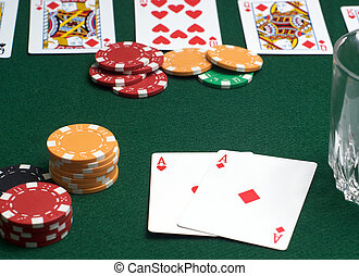 Poker Game in progress, focus on pair of aces.