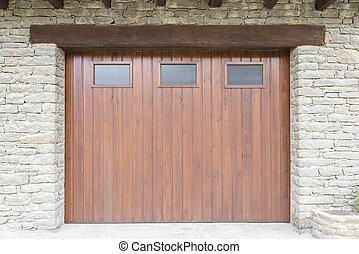 brown door - Rustic old wooden door and stone