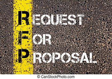 Business Acronym RFP - Request for Proposal. Yellow paint...