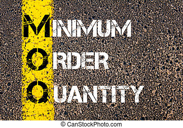 Business Acronym MOQ - Minimum Order Quantity. Yellow paint...