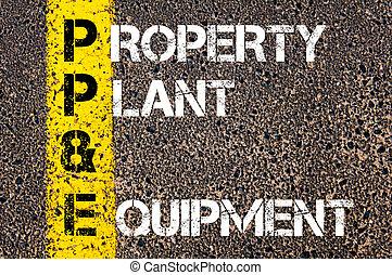 empresa / negocio, siglas, PP&E, -, propiedad, planta,...