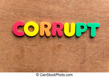 corrupt colorful word on the wooden background