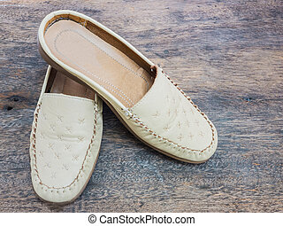 cuir, dame, chaussure, beige, couleur,