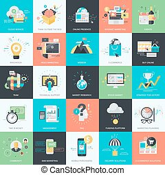 Flat icons for business and marketing - Set of flat design...