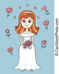 Happy cute bride Sketching cartoon vector illustration