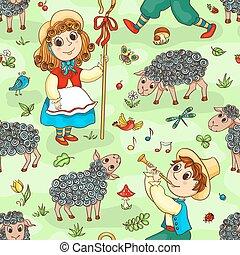 Seamless, Padrão, com, shepherd-girl, e,...