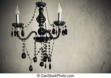 Chrystal chandelier close up Glamour black and white...