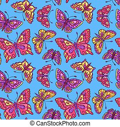 Seamless pattern with butterflies on blue