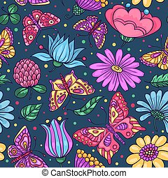 Seamless pattern with butterflies and flowers dark blue