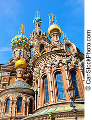 Domes of Church of the Savior on Spilled Blood in St. Petersburg