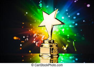 Ouro, estrela, troféu, contra, arco íris,...