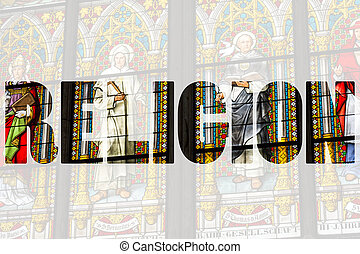 Word RELIGION over stained glass church window