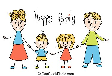 Cute doodle family. Vector children illustration. Isolated...