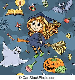 Cute cartoon Halloween seamless pattern with witch