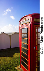 GPO Phonebox - BT GPO red telephone box on a beach, public...