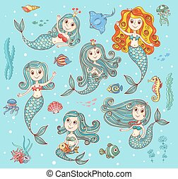 Cute vector set with mermaids - Cute vector set with happy...