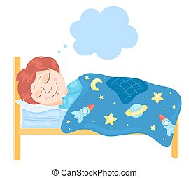 The boy sleeps in a bed. Children vector illustration.