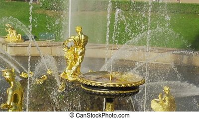 Slow motion fountain Grand cascade in Pertergof - Samson...
