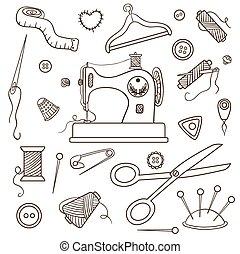 Vector clip art de siluetas costura conjunto objetos for Objetos para banarse