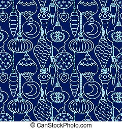Christmas tree decorations seamless pattern blue