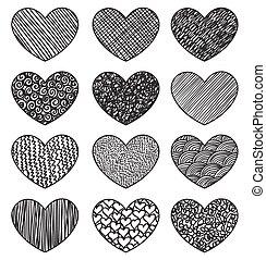 serca, komplet, szkicowanie