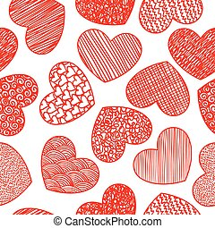 Seamless pattern with sketching hearts