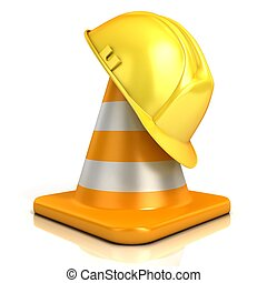 Traffic cone and safety helmet isolated on white background