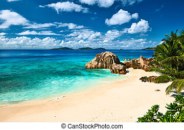 Beautiful beach at Seychelles, La Digue