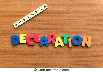 declaration colorful word on the wooden background