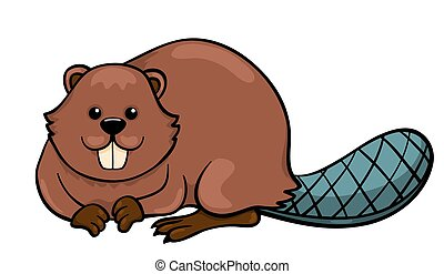 Beaver isolated on white Cartoon vector illustration