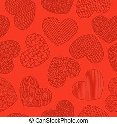Seamless pattern with sketching hearts red