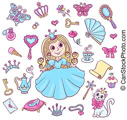 Cute princess set Vector cartoon children illustration...