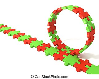Puzzle ring rotating over puzzle