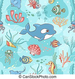 Seamless pattern with killer whale