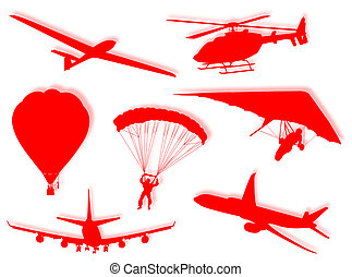 Air transports - Different air transport silhouette as...