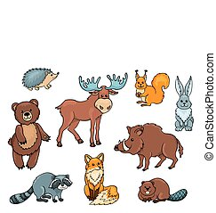 Forest animals set Isolated on white Cartoon vector...