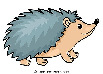 Hedgehog isolated on white. Vector cartoon illustration.