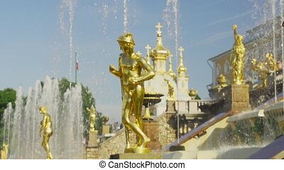 Slow motion fountain Grand cascade in Pertergof - gold...