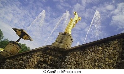Slow motion fountain Grand cascade in Pertergof sky...