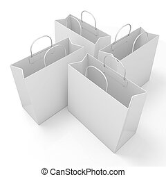 Empty paper bags, arranged and isolated on white. Side view