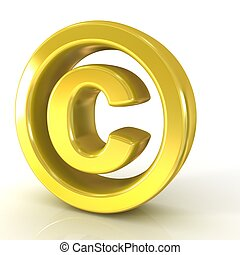 Copyright symbol 3d golden isolated